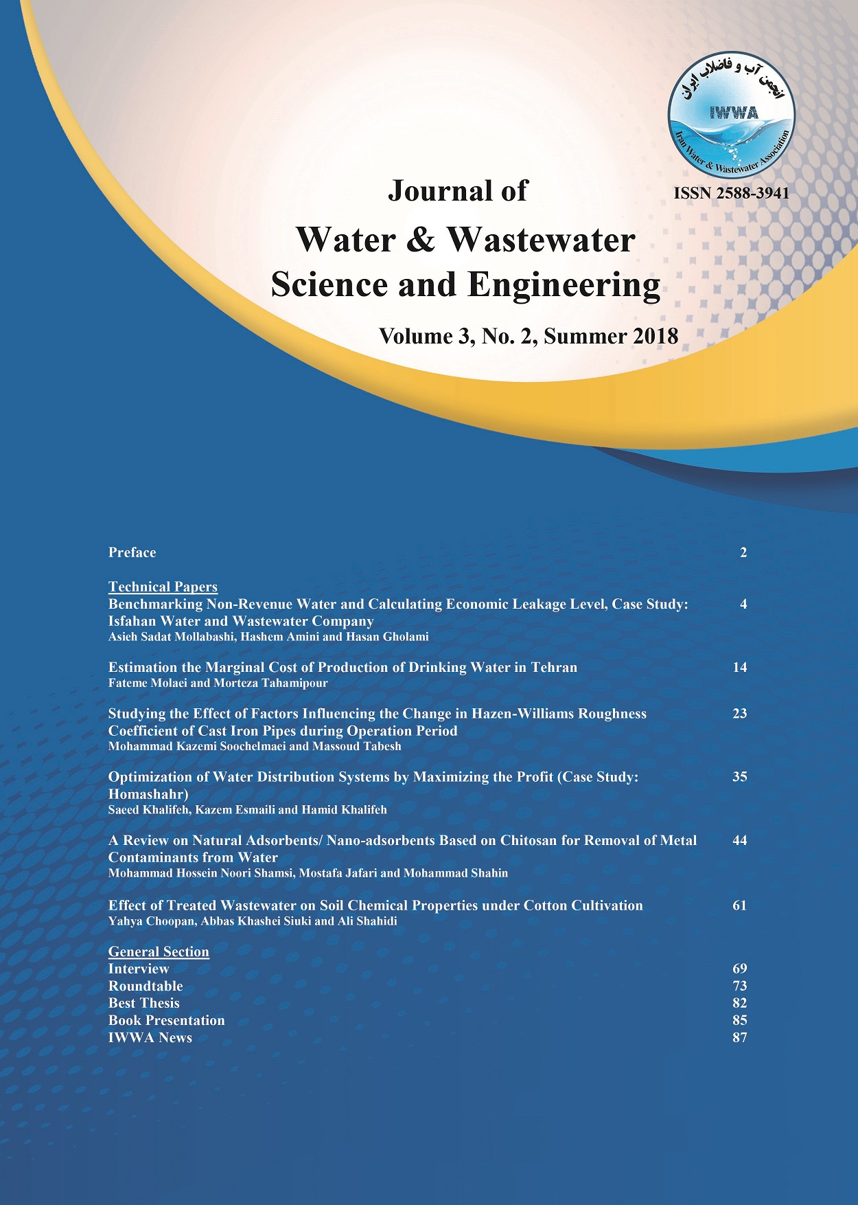 Journal of Water and Wastewater Science and Engineering